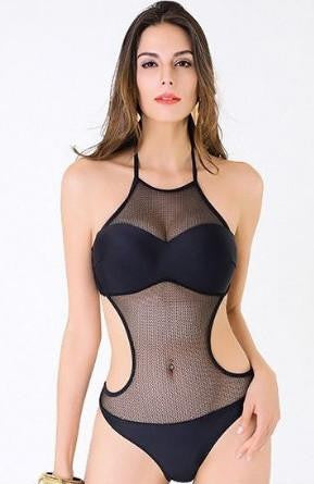 RDevine Swimwear- Halter Monokini with Mesh Detail