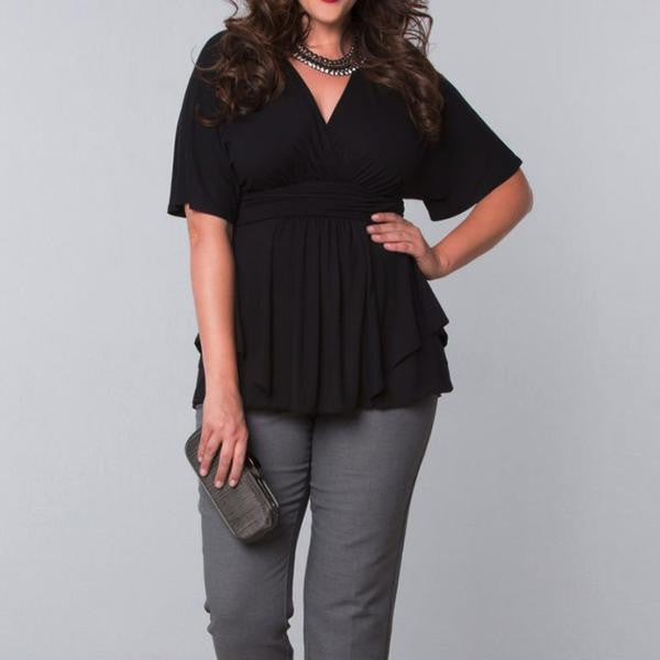 RD Bougie- Black Baby Doll Blouse with Empire Waist & Ruffled Hemline - RDevine Fashion (Wedding & Bridal)