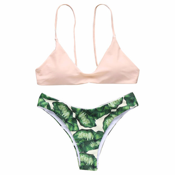 Leaf Print Bikini with Solid Nude Top - RDevine Fashion (Wedding & Bridal)