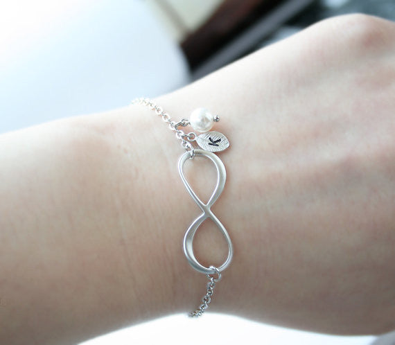 Bridesmaid Gift- Personalized Initial Infinity Bracelet with Pearl & Leaf Charm - RDevine Fashion (Wedding & Bridal)