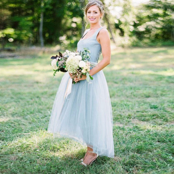 Ice Blue Tulle High-Low Bridesmaid Dress