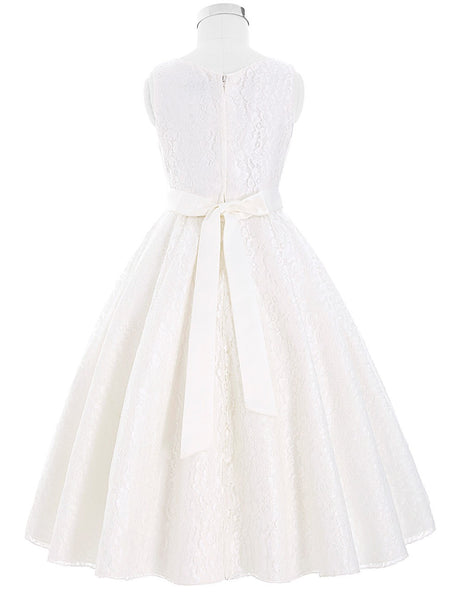 Flower Girl- Sleeveless A Line Lace Dress with Satin Sash & Beaded Embellishment - RDevine Fashion (Wedding & Bridal)