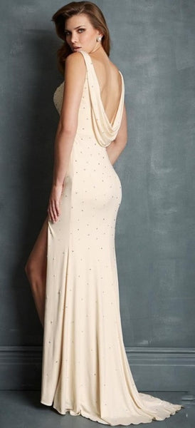 Long Chiffon Bridesmaid Dress with High Slit and Draped Scoop Back - RDevine Fashion (Wedding & Bridal)