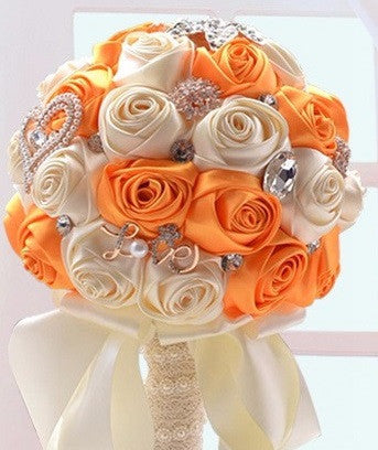 Satin Rose Bouquet with Rhinestone Brooches & Pearl Hearts