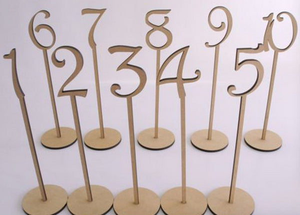 Wooden Numeric Table Numbers