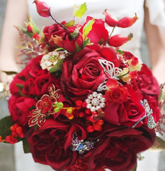 Red Rose & Berry Bouquet with Pearl Details and Rhinestone Dragonflies