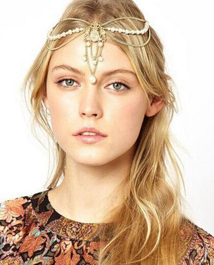 Boho Pearl Chain Headpiece - RDevine Fashion (Wedding & Bridal)