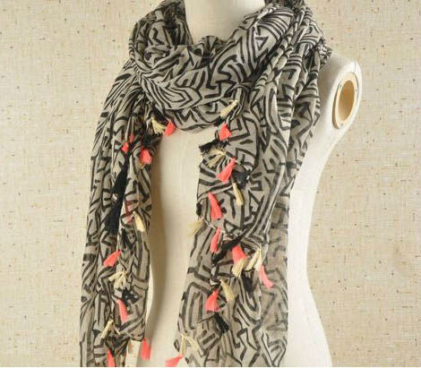 RDevine Casual- Geometric Print Scarf with Neon Pink Pendants