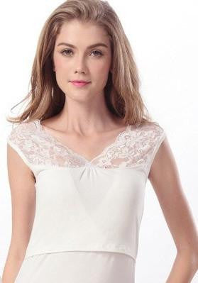 RD Glow- V Neck Nursing Tank with Lace Neckline