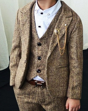 Ring Bearer-Three-Piece Tweed Style Suit