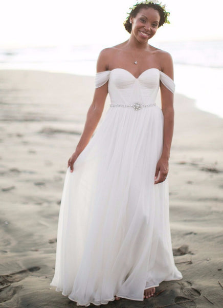 Chiffon Off-the-Shoulder Bohemian Wedding Gown with Sweetheart Neckline & Crystal Embellishment