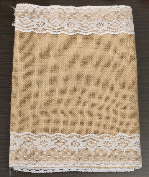 Burlap Table Runner with Lace Edge - RDevine Fashion (Wedding & Bridal)