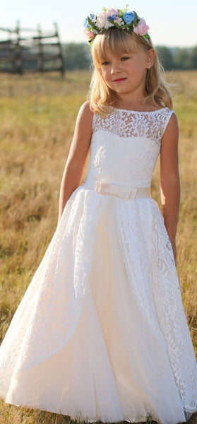 Flower Girl- Sleeveless Lace Over Tulle Dress with Satin Waistline & Bow Detail - RDevine Fashion (Wedding & Bridal)