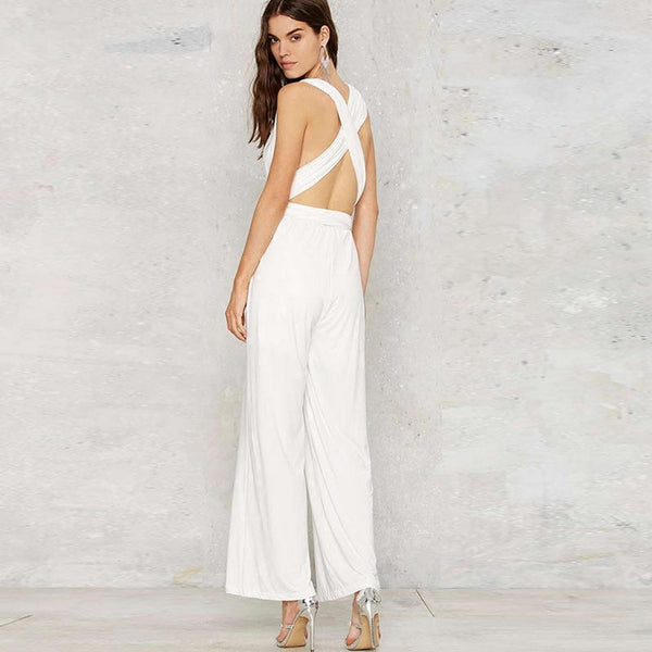 Sleeveless Halter Wide Leg Jumpsuit with Cross-back Detail
