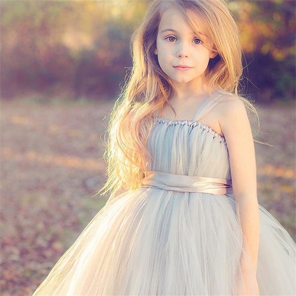 Flower Girl- Tank-Style Tulle Ballgown Dress with Satin Belt Sash - RDevine Fashion (Wedding & Bridal)