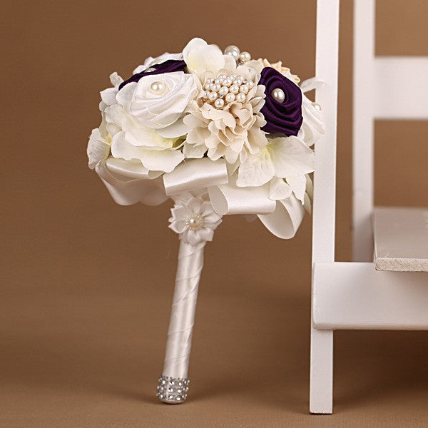 Silk Rose Blend Bouquet with Pearl Brooches