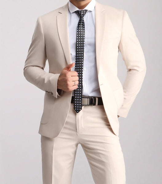 (MTM) Fitted Cotton Khaki Notch Lapel Three Piece Suit - RDevine Fashion (Wedding & Bridal)