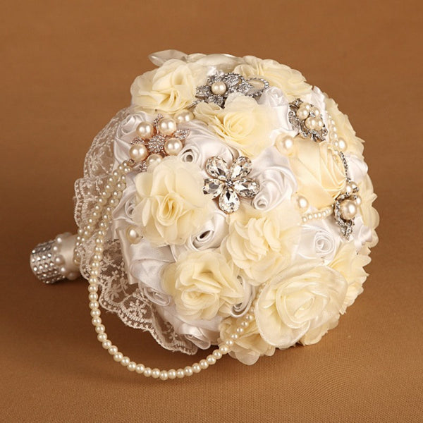 Satin Pearl Bouquet with Crystal Pearl Brooches & Draped Pearls