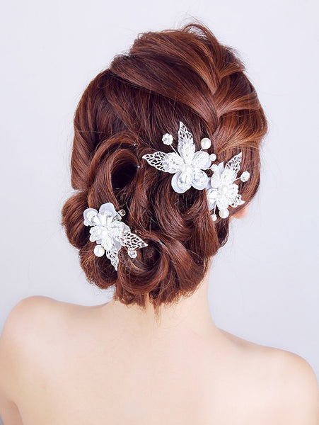 Lace Pearl Crystal Flower Butterfly Clip - RDevine Fashion (Wedding & Bridal)