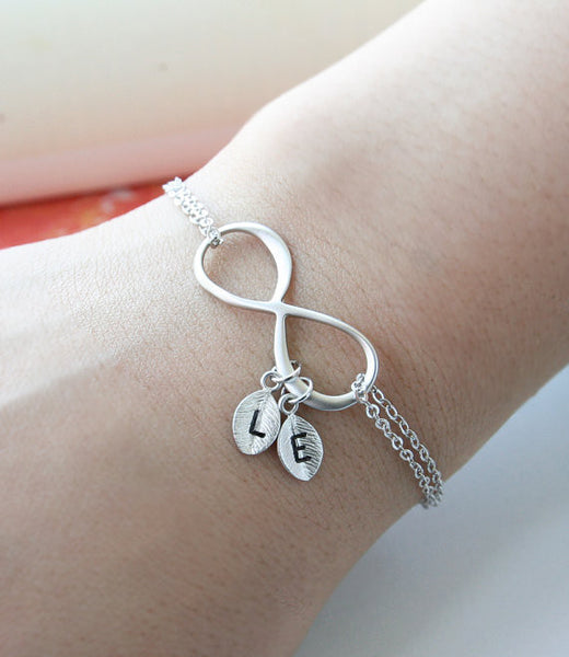 Bridesmaid Gift-Personalized Initial Infinity Bracelet - RDevine Fashion (Wedding & Bridal)