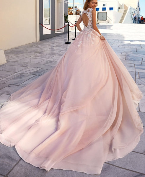 Tulle Dusty Rose Wedding Gown with Flower Applique Detail