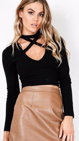 Cropped Cross-Strapped Long Sleeve Sweater