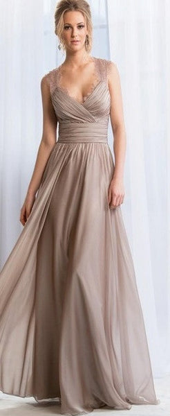 Lace Chiffon Bridesmaid Dress with Empire Waist & Pleating