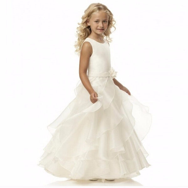 Flower Girl- Sleeveless Organza Dress with Floral Hip Embellishment - RDevine Fashion (Wedding & Bridal)