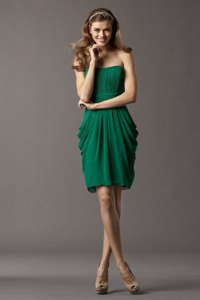 Strapless Chiffon Bridesmaid Dress with Empire Waistline and Draped Skirt