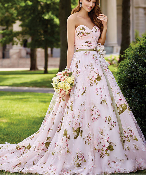 Strapless Organza Floral Print Wedding Gown