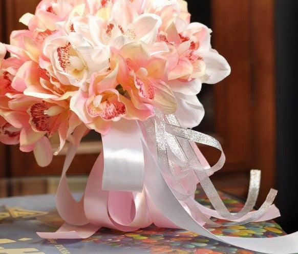 Silk Magnolia Bouquet with Satin Ribbon