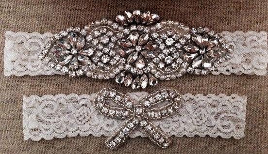 Ivory Pearl & Crystal Rhinestone Garter - RDevine Fashion (Wedding & Bridal)