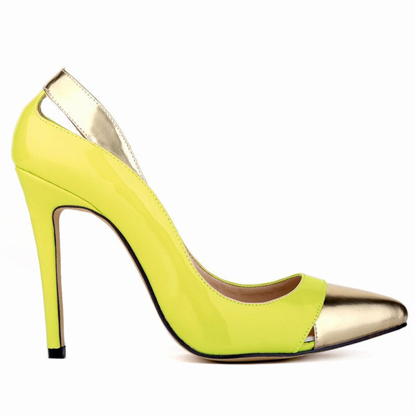 Patent Leather Stiletto Pump with Gold Detail on Toe & Heel - RDevine Fashion (Wedding & Bridal)