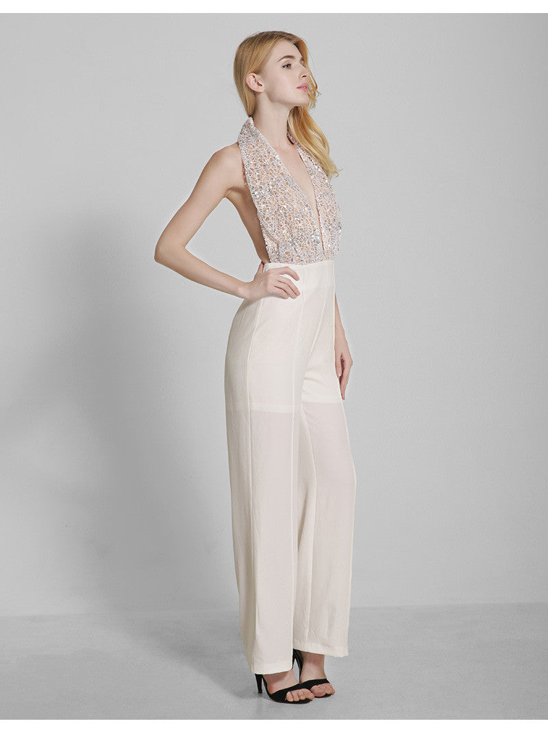 Creme Colored Chiffon Halter Jumpsuit Rdevine Fashion Wedding