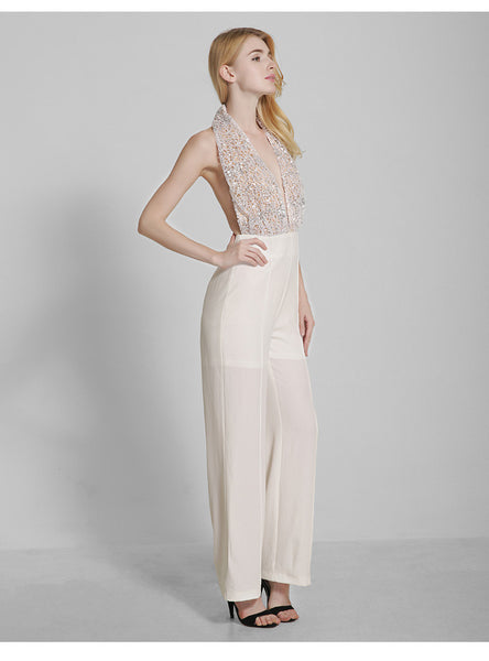 Creme Colored Chiffon Halter Jumpsuit - RDevine Fashion (Wedding & Bridal)