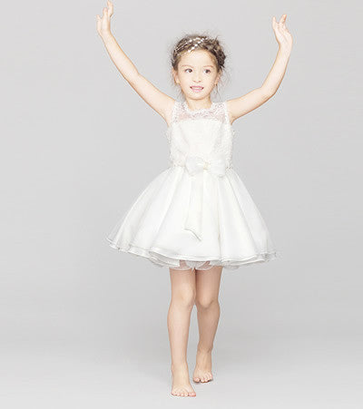 Flower Girl- Sleeveless Mini Organza Dress with Lace Detail - RDevine Fashion (Wedding & Bridal)