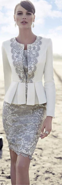 Mother of the Bride- Two Piece Satin Suit Skirt with Lace Applique - RDevine Fashion (Wedding & Bridal)
