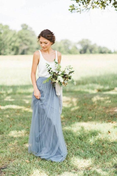 Tulle Floor Length Bridesmaid Dress with Scoop Neckline