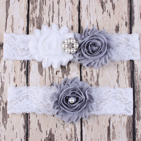 White & Dove Gray Two Piece Lace Garter Set with Chiffon Rosettes
