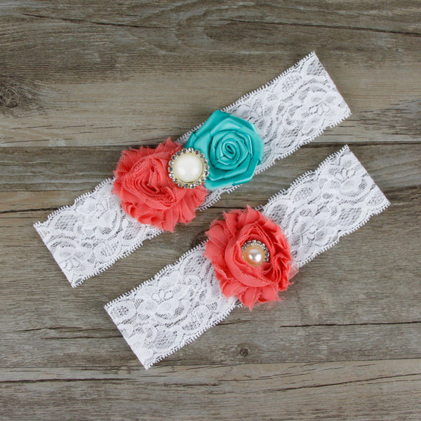 Coral & Tiffany Blue Two-Piece Ivory Lace Wedding Garter with Creme Beaded Flower Embellishment - RDevine Fashion (Wedding & Bridal)