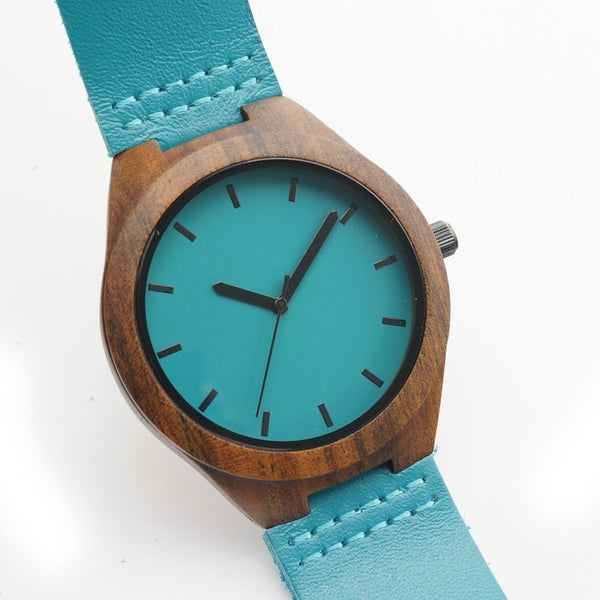 Bobo Bird Blue Quartz Watch with Leather Band - RDevine Fashion (Wedding & Bridal)