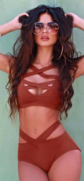Two Piece Criss-Cross Bandage Bikini