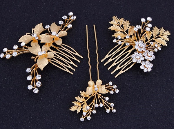 Gold Plated Butterfly Leaf Hair Comb - RDevine Fashion (Wedding & Bridal)