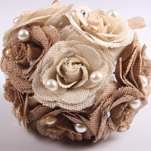 Embellished Burlap Flower Bouquet