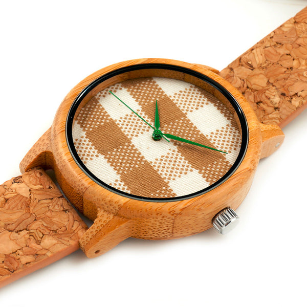 Bobo Bird Plaid Quartz Watch with Cork Band - RDevine Fashion (Wedding & Bridal)