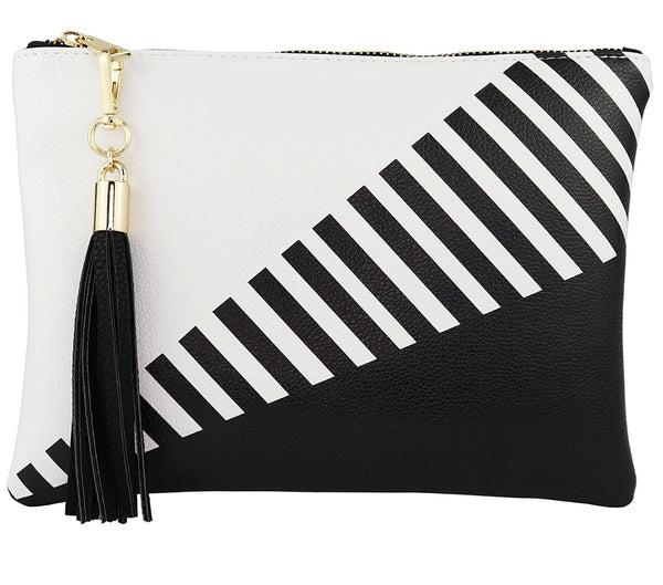 Color-Block Stripe Faux Leather Clutch with Tassel Zipper - RDevine Fashion (Wedding & Bridal)