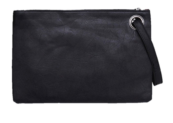 Over-sized Faux Leather Zip Clutch - RDevine Fashion (Wedding & Bridal)