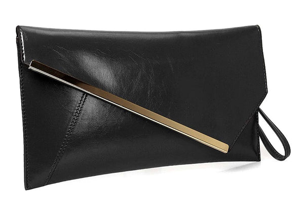 Over-sized Faux Leather Envelope Clutch with Gold Plate Accent - RDevine Fashion (Wedding & Bridal)