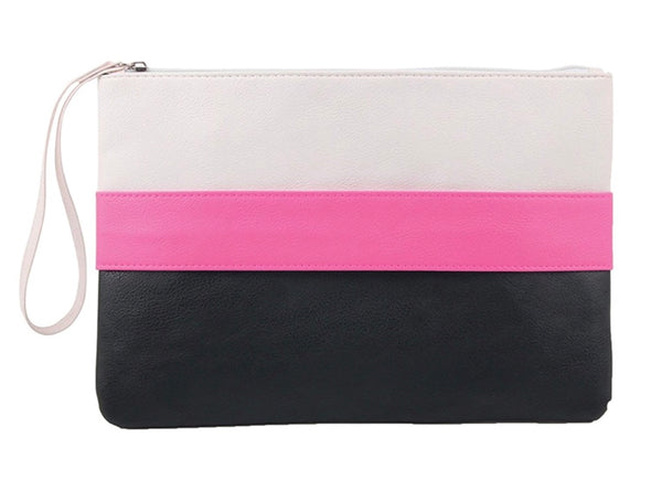 Over-sized Faux leather Color-Blocked Wristlet - RDevine Fashion (Wedding & Bridal)
