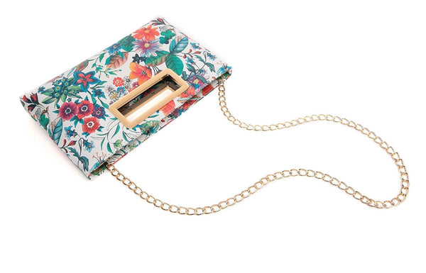 Structured Floral Clutch with Gold Plate Detail & Detachable Chain Shoulder Strap